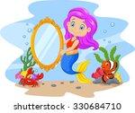 cartoon funny mermaid swimming... | Shutterstock . vector #330684710