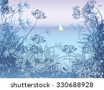 Evening Seascape With Sailboat...