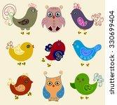 Set Of Nine Funny Cartoon Bird...