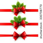 red holiday ribbon with bow  | Shutterstock . vector #330708770