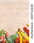 vegetables on old wooden table. ... | Shutterstock . vector #330712628