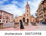 Oviedo Cathedral On Plaza...