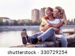 friendship  girls listen the...   Shutterstock . vector #330729254