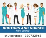 group of doctors and nurses set ... | Shutterstock .eps vector #330732968