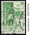 Small photo of BELGIUM - CIRCA 1965: A stamp printed in the Belgium, shows Postmaster, circa 1965