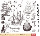 mega nautical pack with ships ... | Shutterstock .eps vector #330745298