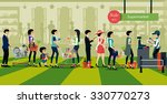 people line up to pay for... | Shutterstock .eps vector #330770273