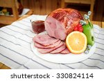homemade of sliced honey gammon ... | Shutterstock . vector #330824114