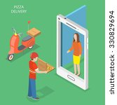 pizza delivery flat isometric... | Shutterstock .eps vector #330829694
