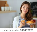 young woman with glass of juice ...   Shutterstock . vector #330839198