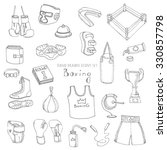 hand drawn doodle boxing set... | Shutterstock .eps vector #330857798
