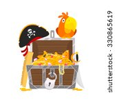 parrot and chest of gold   Shutterstock .eps vector #330865619