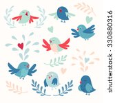 Cute Birds Vector Card Set