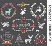 retro christmas chalkboard | Shutterstock .eps vector #330893306