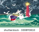 boat in hurricane and black... | Shutterstock .eps vector #330893810