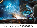 worker with protective mask... | Shutterstock . vector #330894224