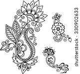 set of mehndi flower pattern... | Shutterstock .eps vector #330902633