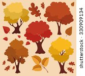 Autumn Trees And Leaves Vector...