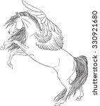 coloring book pegasus | Shutterstock .eps vector #330921680