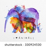 Color animals ,elephant, deer, lion, rabbit, drawing overprint on paper background lettering I love animals | Shutterstock vector #330924530