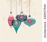 vintage christmas baubles ... | Shutterstock .eps vector #330927944