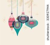 vintage christmas baubles ... | Shutterstock .eps vector #330927944