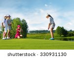 kids playing golf by putter on... | Shutterstock . vector #330931130