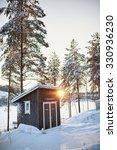 small log cabin behind vaporing ... | Shutterstock . vector #330936230