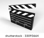 Movie clapper board - 3d rendering - stock photo