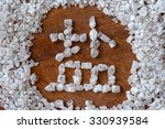 Small photo of Chinese logogram Salt made of coarse salt close up