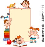 frame with school children and... | Shutterstock .eps vector #330944444