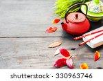 asian food concept  tea pot ... | Shutterstock . vector #330963746