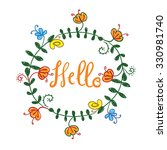 postcard with floral patterns....   Shutterstock .eps vector #330981740