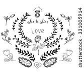 hand drawn wedding doodle decor ... | Shutterstock .eps vector #331005914