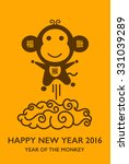 happy new year 2016 with monkey.... | Shutterstock .eps vector #331039289