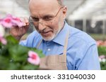 Cheerful senior gardener is working at greenhouse. He is standing and smiling. The man is looking at flower with admiration. He is adjusting his eyeglasses - stock photo