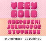 bold retro alphabet on pink... | Shutterstock .eps vector #331055480