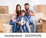 young happy family moving to a... | Shutterstock . vector #331059290