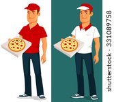 cartoon pizza delivery guy | Shutterstock .eps vector #331089758