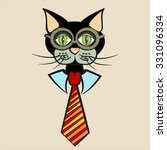 black cat in glasses with tie | Shutterstock .eps vector #331096334