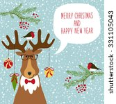cute hand drawn reindeer  with... | Shutterstock . vector #331105043