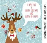 cute hand drawn reindeer... | Shutterstock .eps vector #331105634