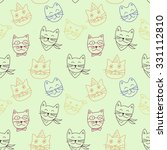 vector colorful cats seamless... | Shutterstock .eps vector #331112810