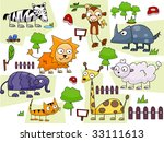 zoo animal doodles   vector | Shutterstock .eps vector #33111613