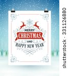 christmas card hanging on... | Shutterstock .eps vector #331126880