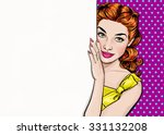 beautiful pop art  girl looking ... | Shutterstock . vector #331132208
