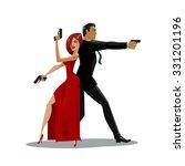 team of secret agents. posing... | Shutterstock .eps vector #331201196