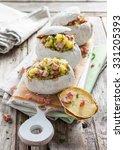 baked potatoes in salt crust ... | Shutterstock . vector #331205393