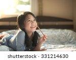 beautiful asian girl thinking... | Shutterstock . vector #331214630