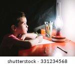 boy writes letter to santa... | Shutterstock . vector #331234568